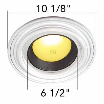 spec-<PRE>4 Spot Light Ring White Trim 6.5&quot; ID x 10&quot;OD Mini Medallion </PRE>