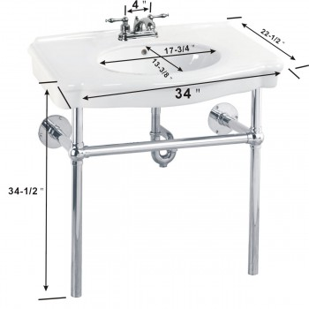spec-<PRE>White Bathroom Console Sink Basin Only 4&quot; Centerset </PRE>