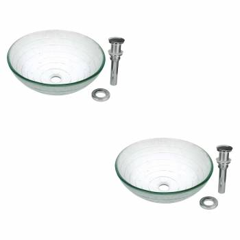 <PRE>2 Tempered Glass Vessel Sink with Drain Frosted Green Bowl Sink Set of 2</PRE>zoom1