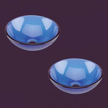 <PRE>2 Glass Vessel with Drain Frosted Blue Tempered Glass Mini Bowl Sink Set of 2</PRE>zoom2