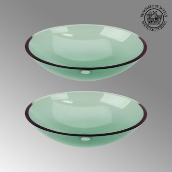 spec-<PRE>2 Green Glass Vessel Bathroom Oval Sink Pop-up In </PRE>
