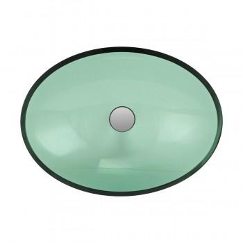 2 Green Glass Vessel Bathroom Oval Sink Popup In bathroom vessel sinks Countertop vessel sink Bathroom Vessel Sink