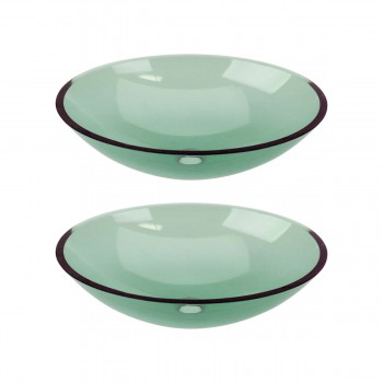2 Green Glass Vessel Bathroom Oval Sink Popup In bathroom vessel sinks Countertop vessel sink Bathroom Vessel Sink
