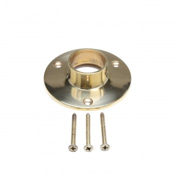 Bar Bracket Floor Flange 4 in. Polished Brass