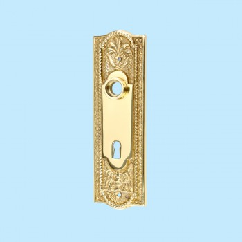 <PRE>Door Back Plate Solid Brass Beaded With Keyhole 7 1/4inch H </PRE>zoom2