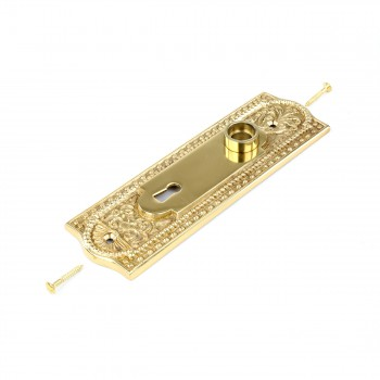 <PRE>Door Back Plate Solid Brass Beaded With Keyhole 7 1/4inch H </PRE>zoom3
