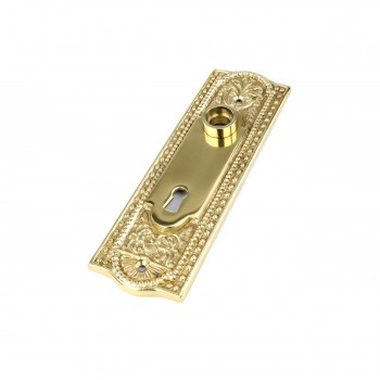 <PRE>Door Back Plate Solid Brass Beaded With Keyhole 7 1/4inch H </PRE>zoom6