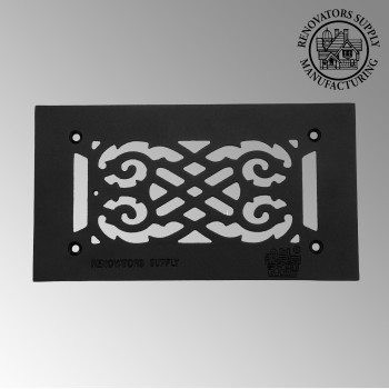 Heat Air Vent Grille Cast Aluminum Victorian 5.5 x 10 Overall Heat Register Floor Register Wall Registers