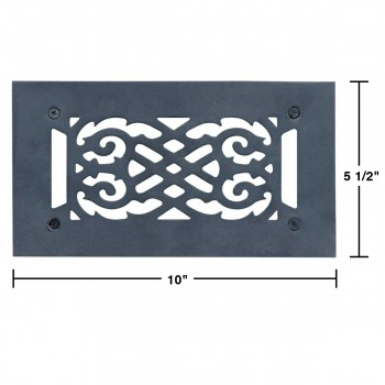 "spec-<PRE>Heat Air Vent Grille Cast Aluminum Victorian 5.5"" x 10"" Overall </PRE>"