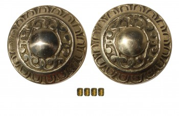 Pair Vintage Embossed Solid Brass Door Knob 2 Brass Shanks Door Hardware Door Knob Sets Door Knob