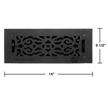 spec-<PRE>Floor Heat Register Louver Vent Victorian Cast 4&quot; x 12&quot; Duct </PRE>
