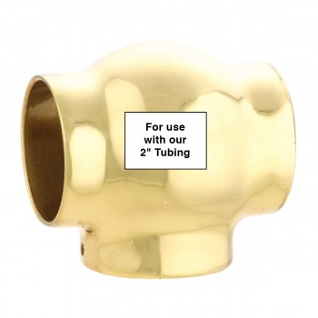 spec-<PRE>Ball TEE Connector 2&quot; Bar Rail Fitting Bright Solid Brass </PRE>
