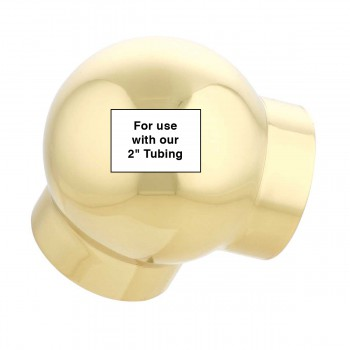 spec-<PRE>Ball Elbow Fitting 90 Degree 2&quot; OD Bar Foot Rail Bright Brass</PRE>