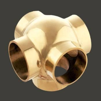 <PRE>Ball Cross Fitting 5 Way 2inch OD Bar Foot Rail Bright Brass </PRE>zoom2