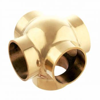 Ball Fitting T-Cross Connector Polished Brass