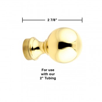 "spec-<PRE>Ball Top End Cap Polished Solid Brass 2"" OD Bar Rail </PRE>"