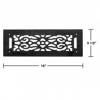 "spec-<PRE>Heat Air Grille Cast Victorian Overall 5 1/2"" x 16"" </PRE>"