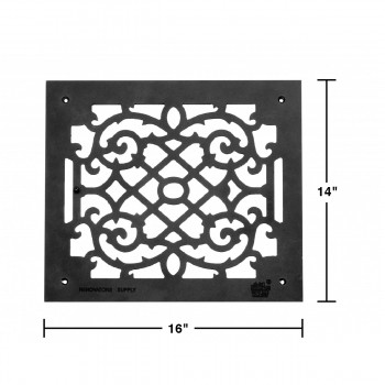 spec-<PRE>Heat Air Grille Cast Victorian Overall 13 7/8&quot; x 15 7/8&quot; </PRE>