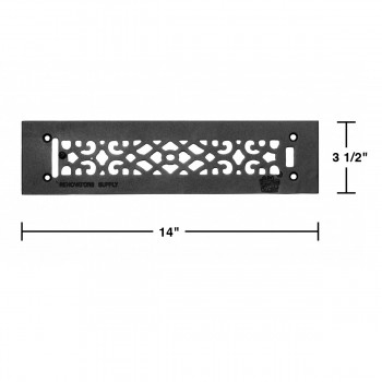 spec-<PRE>Heat Air Grille Cast Victorian Overall 3 1/2 x 14 </PRE>