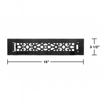 spec-<PRE>Heat Air Grille Cast Victorian Overall 3 1/2 x 16 </PRE>