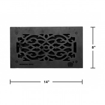 spec-<PRE>Floor Heat Register Louver Vent Victorian Cast 6&quot; x 12&quot; Duct </PRE>