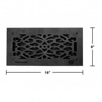 spec-<PRE>Floor Heat Register Louver Vent Victorian Cast 6 x 14 Duct </PRE>