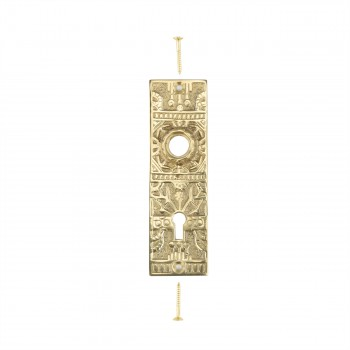 Door Back Plate Solid Brass Queen Anne 5 1/4