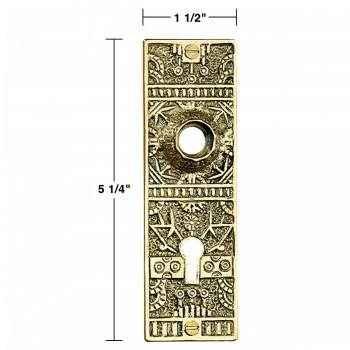 spec-<PRE>Door Back Plate Solid Brass Queen Anne 5 1/4&quot; H </PRE>