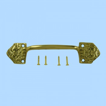<PRE>Ornate Cabinet Pull Drawer Handle Heavy Solid Brass </PRE>zoom2