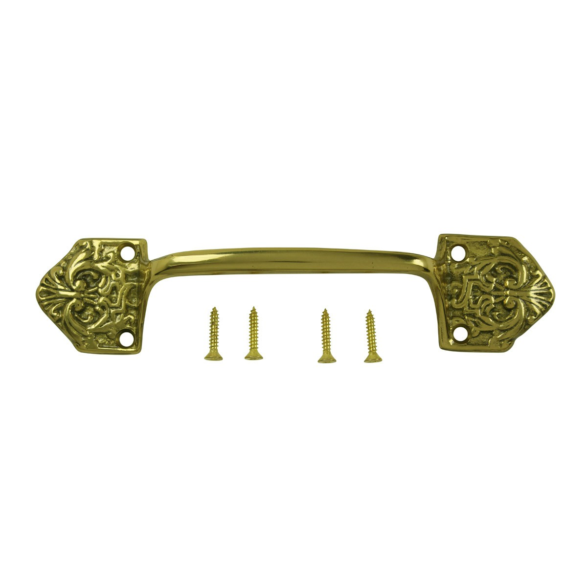 Ornate Cabinet Pull Drawer Handle Heavy Solid Brass