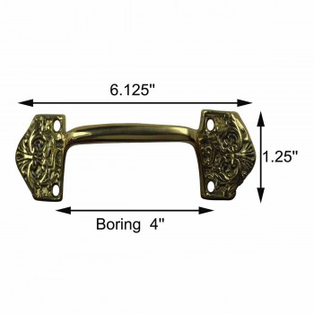 spec-<PRE>Ornate Cabinet Pull Drawer Handle Heavy Solid Brass </PRE>
