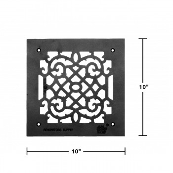 spec-<PRE>Heat Air Grille Cast Victorian Overall 10&quot; x 10&quot; </PRE>