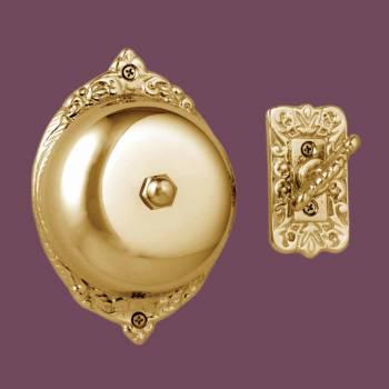 <PRE>Bright Brass Victorian Mechanical Door Bell Lifetime Finish </PRE>zoom2
