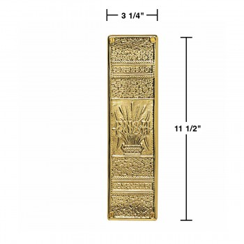 "spec-<PRE>Baroque Door Push Plate Cast Brass 11 1/2"" H </PRE>"