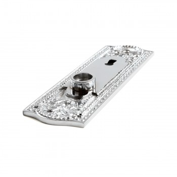 Door Back Plate Chrome Solid Brass Beaded With Keyhole 7 14 H Door Plate Door Plates Antique Door Plate