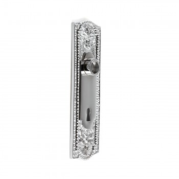 Door Back Plate Chrome Solid Brass Beaded With Keyhole 7 1/4
