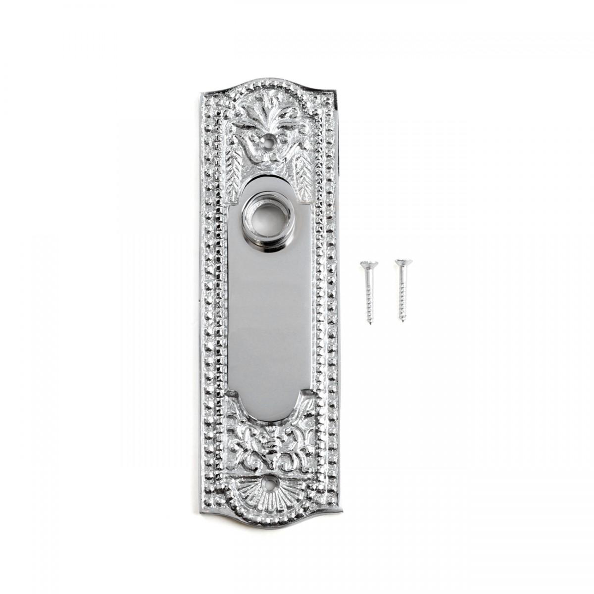 Door Back Plate Chrome Solid Brass Beaded Without Keyhole 7 14 H Door Plate Door Plates Antique Door Plate