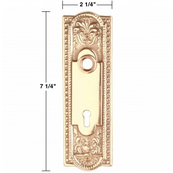 "spec-<PRE>Door Back Plate Chrome Solid Brass Beaded Without Keyhole 7 1/4"" H</PRE>"