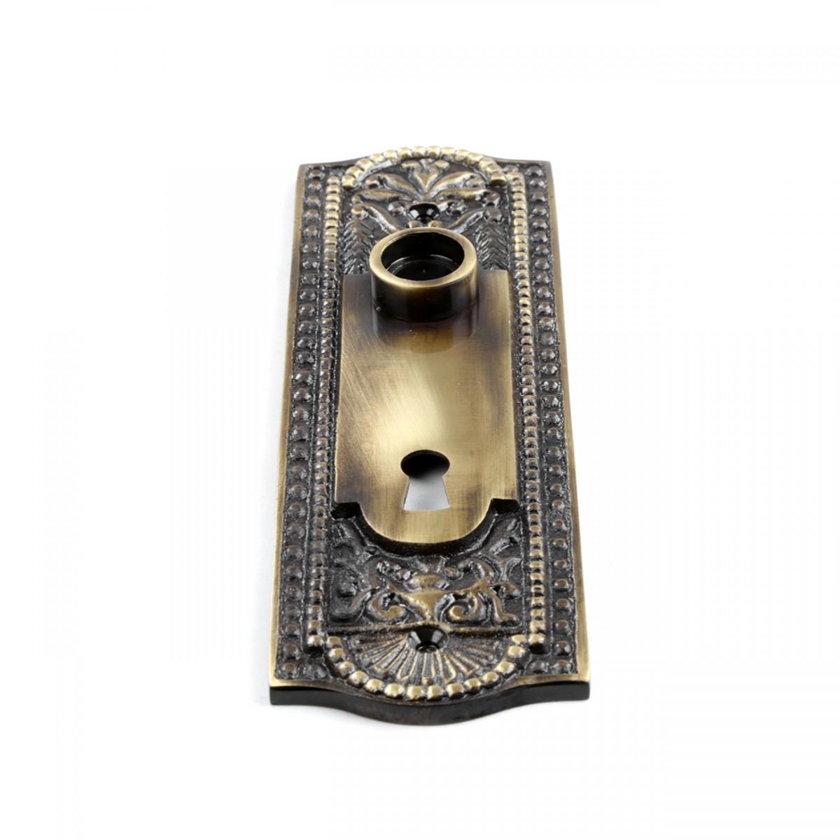 Door Back Plate Antique Brass Beaded With Keyhole 7 14 H Door Plate Door Plates Antique Door Plate