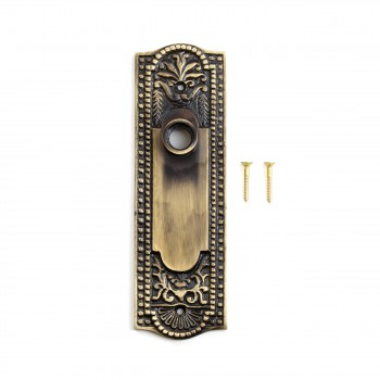 <PRE>Door Back Plate Antique Brass Beaded Without Keyhole 7 1/4inch H</PRE>zoom3