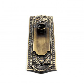 <PRE>Door Back Plate Antique Brass Beaded Without Keyhole 7 1/4inch H</PRE>zoom5