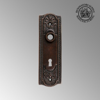 <PRE>Door Back Plate Oil Rubbed Bronze Solid Brass Beaded With Keyhole 7 1/4inch H</PRE>zoom2