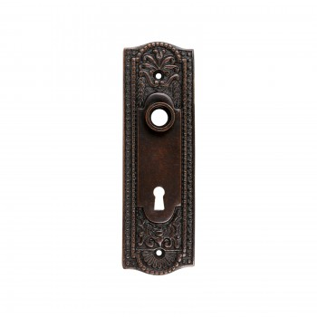 <PRE>Door Back Plate Oil Rubbed Bronze Solid Brass Beaded With Keyhole 7 1/4inch H</PRE>zoom1