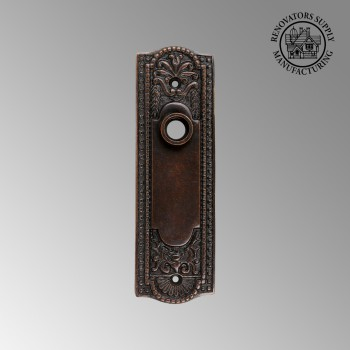 <PRE>Door Back Plate Oil Rubbed Bronze Solid Brass Beaded Without Keyhole 7 1/4inch H</PRE>zoom2
