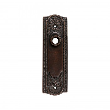 Door Back Plate Oil Rubbed Bronze Solid Brass Beaded Without Keyhole 7 1/4