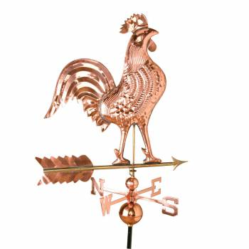 Large Polished Weathervane Copper Rooster NESW with Mounts 23191grid