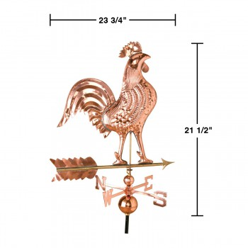 spec-<PRE>Large Polished Weathervane Copper Rooster NESW with Mounts </PRE>