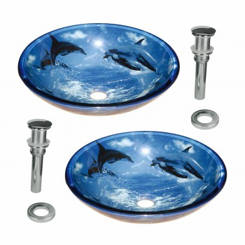 Tempered Glass Vessel Sinks with Drain Dolphin Set of 2