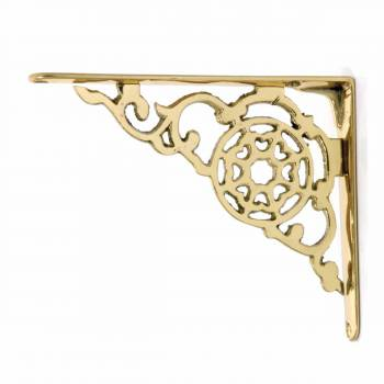 Pair Shelf Bracket Bright Solid Brass 6 18