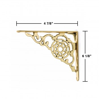 spec-Pair Shelf Bracket Bright Solid Brass 6 1/8